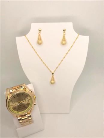 Imagem de Kit Relógio Dourado Feminino + Colar + Brinco Presente namorados mães mulheres