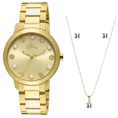 Kit Relógio Feminino Allora Analógico AL2035LR K4D - Dourado ... 4809410584