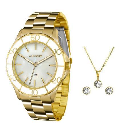 25b2e952c8c Kit Relógio Feminino Lince Analógico Lrgj067l Ku94 - Dourado ...