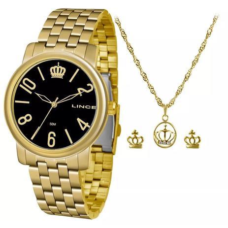 7fe95f5d6dc Kit Relógio Feminino Lince LRG4555L KV03 - Dourado Preto - Relógio ...