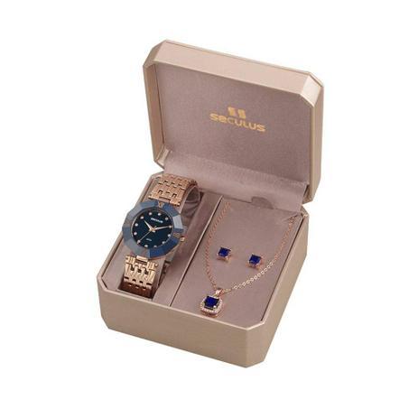 d144abe8ea9 Kit Relógio Feminino Seculus Analógico 23529LPSKRQ8K1 + Colar e Par de  Brincos