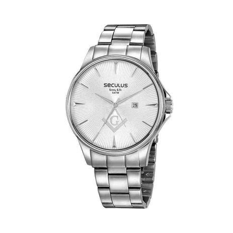 Imagem de Kit relógio masculino aço com broche maçonaria prata 35012g0svna2k1