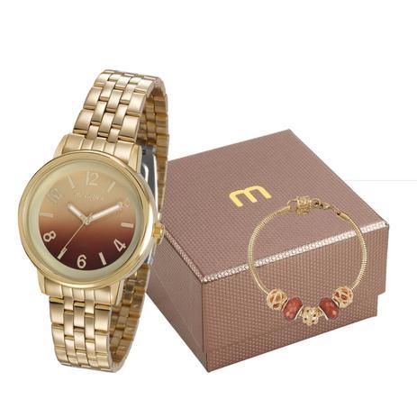 c06734623 Kit Relógio Mondaine Feminino Dourado + Pulseira 99307lpmgde1k1 ...