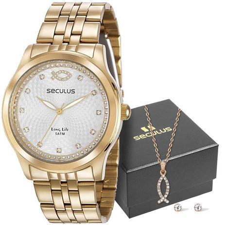 84fdf030f89 Kit Relógio Seculus Feminino Long Life Analógico 28968LPSKDA1K1 ...