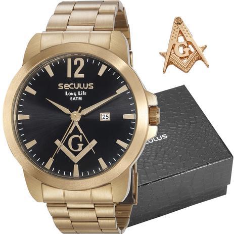 cfa2ad59749 Kit Relógio Seculus Masculino Long Life Analógico Com Broche 28973GPSKDA1K1