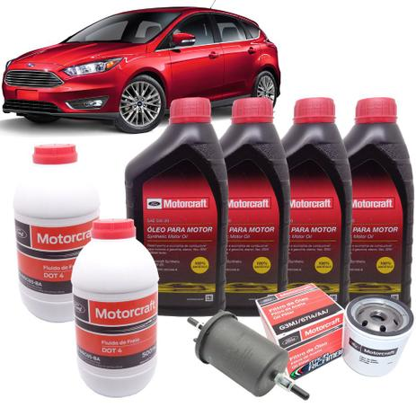 Imagem de Kit revisão Ford 30.000 Km - Óleo Motorcraft 5W30, filtros e Dot4 - Ford Novo Focus 1.6 16V após 2013