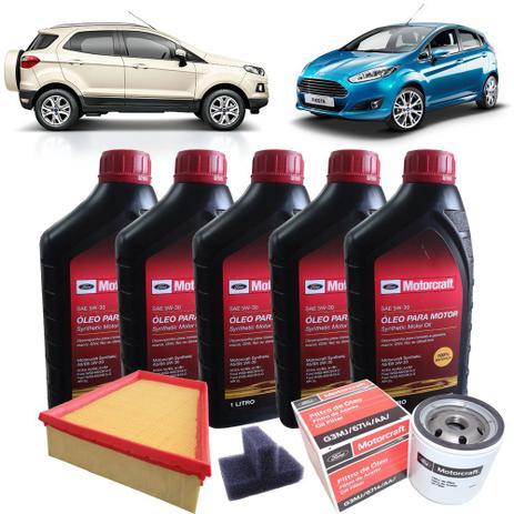 Imagem de Kit revisão Ford troca de óleo 5 litros Motorcraft 5W30 e filtros - Ford New Fiesta e Nova Ecosport