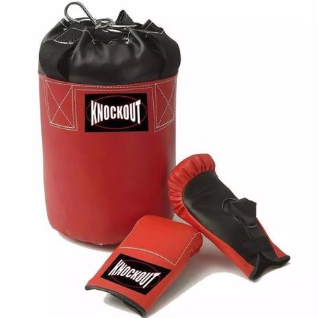 fb0fb489d Kit Saco de Pancada Cheio e Par de Luva Infantil Knockout - 2 a 8 anos