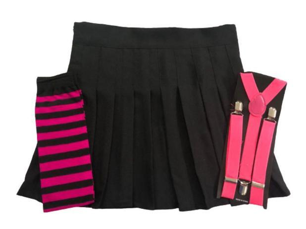 Imagem de Kit Saia Colegial Preta Lisa + Suspensório Pink + Meia 7/8 Pink