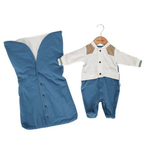 3cfbeca2bc Kit Saída da Maternidade Sweet Boy - Branco e Azul - Paraíso Branco e Azul  - Paraiso moda bebê