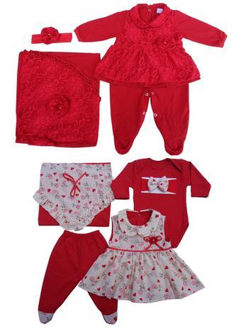 146cb88c31 Kit Saída De Maternidade Menina Macacão Renda + Saída 5 Peças Vestido Cor  Vermelho - Whoshop