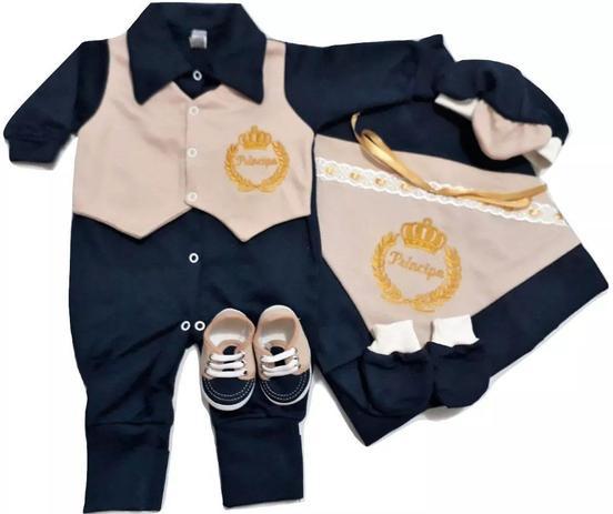 Imagem de Kit Saída Maternidade 6 (seis) peças 100% algodão Menino - Azul Escuro e Areia