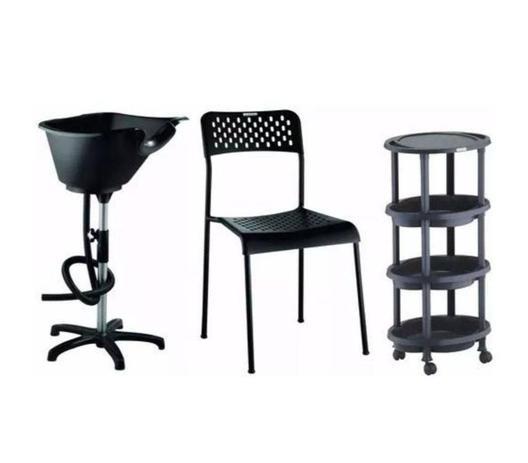 Imagem de Kit Salão De Beleza: Lavatório Portátil, Cadeira E Carrinho Clean