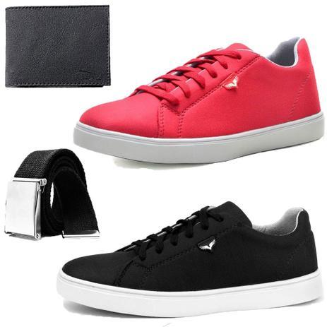 4e8544829e6 Kit Sapatenis Neway SW Preto e Vermelho Com 1 Cinto e 1 Carteira - Dhl  calçados