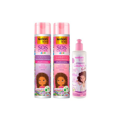Imagem de Kit Shampoo,Condicionador e Ativador de Cachos  SOS Cachos Kids - Salon Line