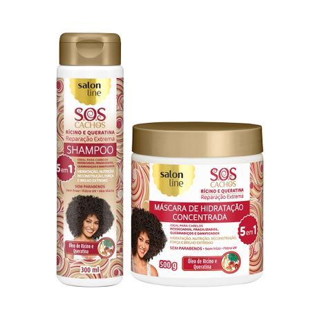 Imagem de Kit Shampoo e Máscara S.O.S Cachos Reparação Extrema 5 em 1 Rícino e Queratina - Salon Line