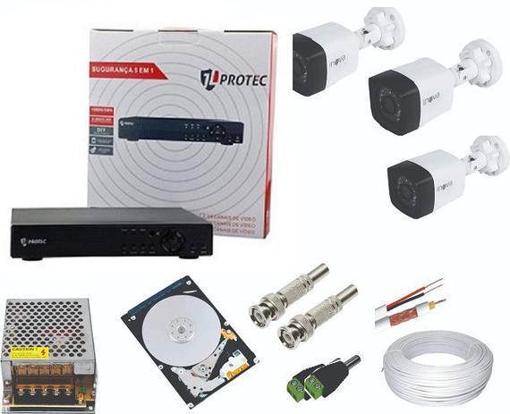 Imagem de Kit Sistema de Monitoramento Completo 3 Câmeras Segurança Infravermelho HD 160 GB
