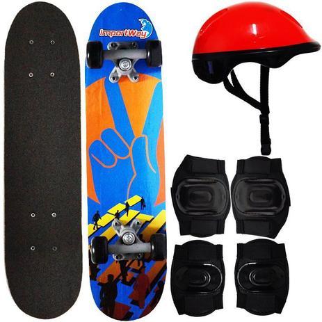 Imagem de Kit Skate Infantil 24 Completo + Acessórios Capacete Masculino Feminino Importway BW-013