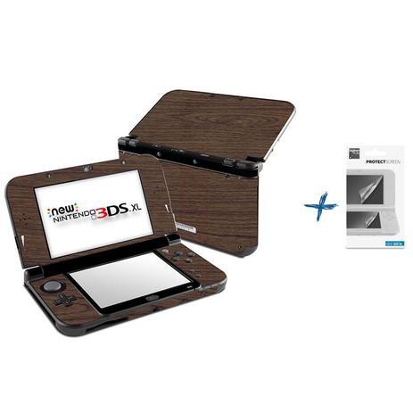 Imagem de Kit Skin Adesivo Protetor New Nintendo 3DS XL+ Películas (Madeira)