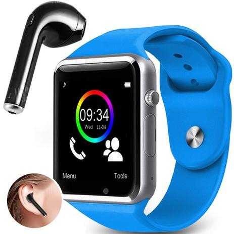e9b75d1c344 Kit Smartwatch A1 + Fone de Ouvido Bluetooth i7 - Relógio Celular  Inteligente Chip Android Ios (AZUL)
