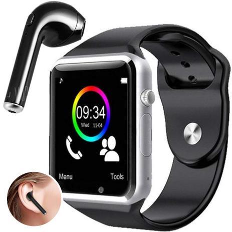 41865c61610 Kit Smartwatch A1 + Fone de Ouvido Bluetooth i7 - Relógio Celular  Inteligente Chip Android Ios (PRATA)