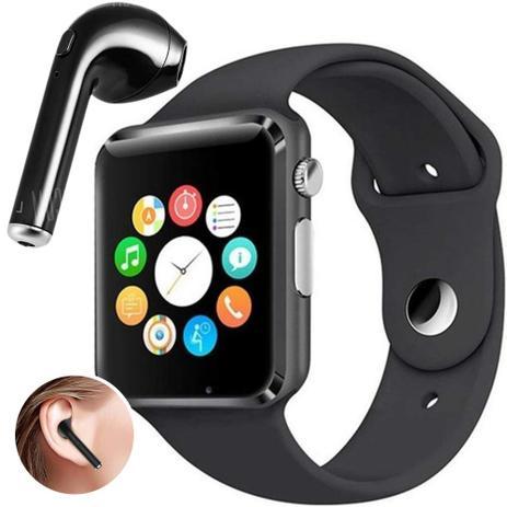2925a73425c Kit Smartwatch A1 + Fone de Ouvido Bluetooth i7 - Relógio Celular  Inteligente Chip Android Ios (PRETO)