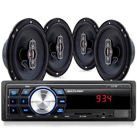 008e28d2d4b Kit Som Automotivo Multilaser Mp3 One Quadriaxial + Quatro Alto Falantes +  Tela Led + Entrada SD - AU953 0