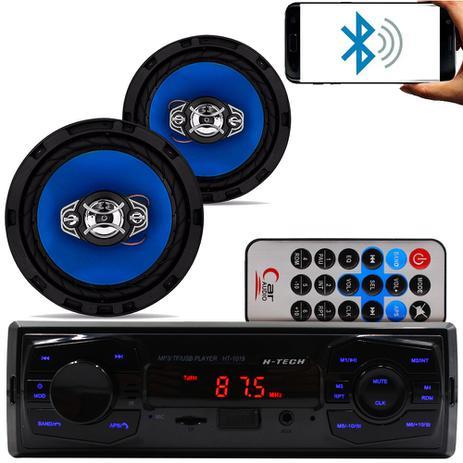 Imagem de Kit Som Carro Radio Mp3 Bluetooth Usb + 2 Alto Falante 6 Pol