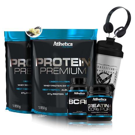 d7c69de25 Kit Suplemento 2x Whey + Bcaa + Creatina + Coqueteleira + Fone - Atlhetica  Nutrition