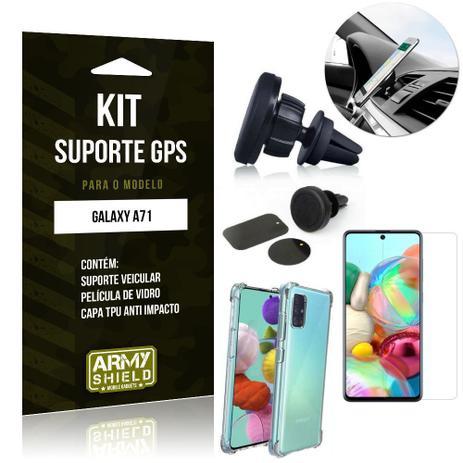 Imagem de Kit Suporte Veicular Magnético Galaxy A71 Suporte +Capinha Anti Impacto +Película Vidro - Armyshield
