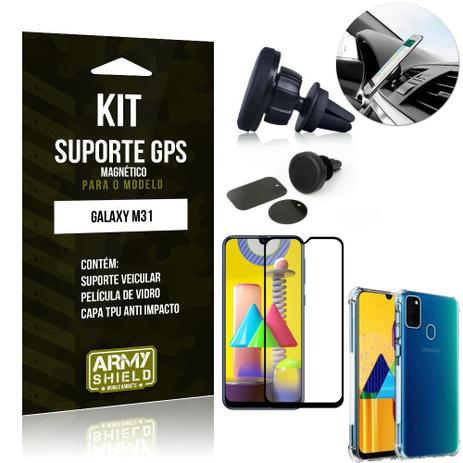 Imagem de Kit Suporte Veicular Magnético Galaxy M31 + Capa Anti Impacto +Película Vidro 3D - Armyshield