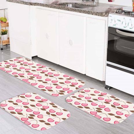 9590b1448 Kit Tapete de Cozinha Cerejinha - Love decor - Tapete para Cozinha ...