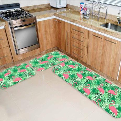 e2309668f Kit Tapete de Cozinha Flamingos - Love decor - Tapete para Cozinha ...