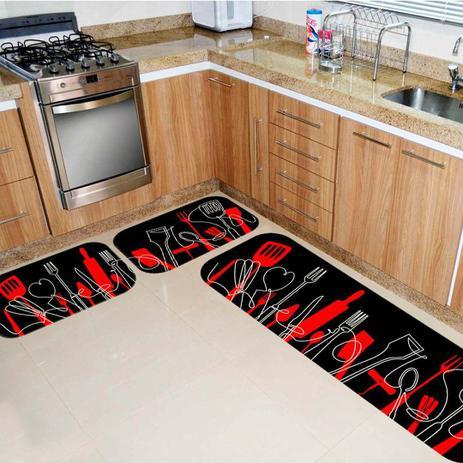 Imagem de Kit Tapete de Cozinha Talheres Vermelho