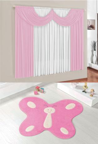 Imagem de Kit Tapete Infantil Borboleta Rosa Com Cortina 2 Metros Quarto Menina Fofo