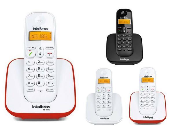 002d8ca6a Kit Telefone Sem Fio TS 3110 Com 3 Ramal intelbras 3 Cores - Kit de ...