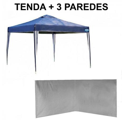 Imagem de Kit Tenda Gazebo Azul Base e Topo 3x3 M + 3 Paredes Brancas Sem Janelas  Mor