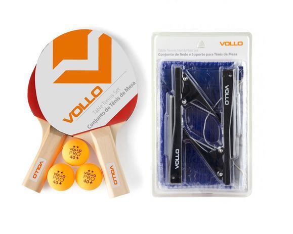 Imagem de Kit Tênis de Mesa 2 Raquetes 3 Bolas E Rede De Alicate Vollo
