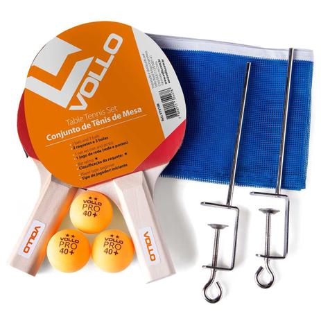 Imagem de Kit Tenis De Mesa Ping Pong 2 Raquetes 3 Bolas Rede Vollo