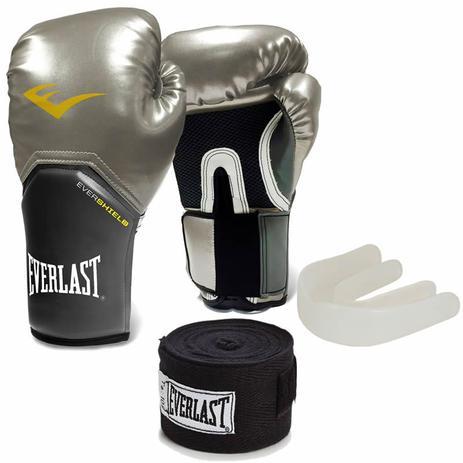 e62d8896722fa Kit Training Luva Boxe Muay Thai Bandagem Bucal Prata Original Everlast