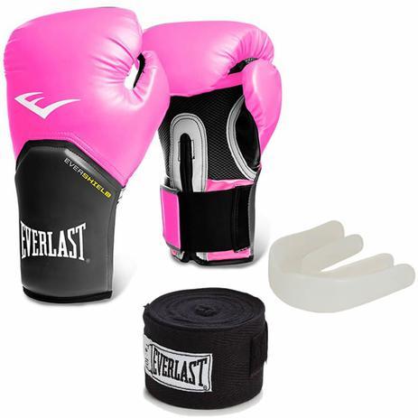 Kit Training Luva Boxe Muay Thai Bandagem Bucal Rosa Original Everlast 31e00bee02642