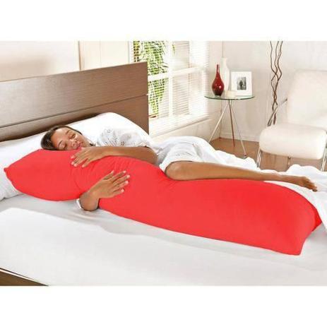 Imagem de Kit Travesseiro de Corpo + Fronha Mega 02 Peças 100 Algodão - Vermelho