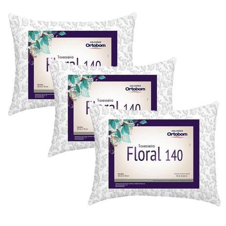 23c8daa02 Kit Travesseiros Floral 140 Fios 03 Peças Estampado - Ortobom ...