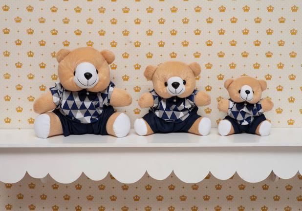 Imagem de Kit Trio Ursinhos De Pelúcia Para Nicho Decoração Quarto Bebê Azul