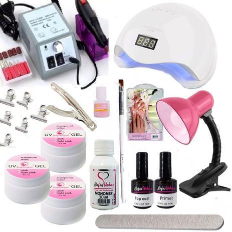 Imagem de Kit Unha Acrigel Fibra Vidro Gel + Lixa Cabine Manicure Profissional