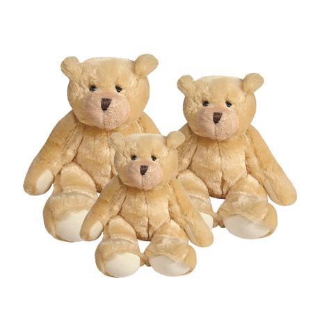 Kit Ursos Pelúcia Pequeno, Médio E Grande Sentado Palha E Bege   Mury Baby
