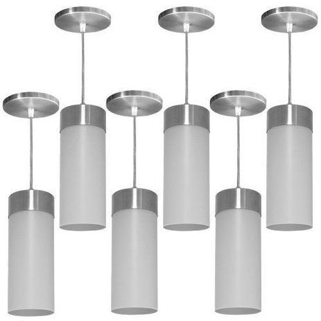Imagem de Kit Utron 6 Lustres Luminária Pendente Copo Translúcido E27