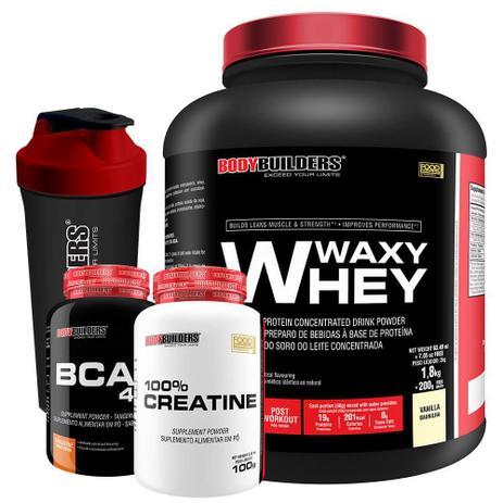 Imagem de Kit Waxy Whey 2kg Baunilha + BCAA 4,5 100g + 100% Creatine 100g + Coqueteleira  Bodybuilders