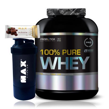 f1d6d5ebf Kit Whey 100 Pure Whey 2kg + Gold Bar + Coqueteleira - Probiótica ...