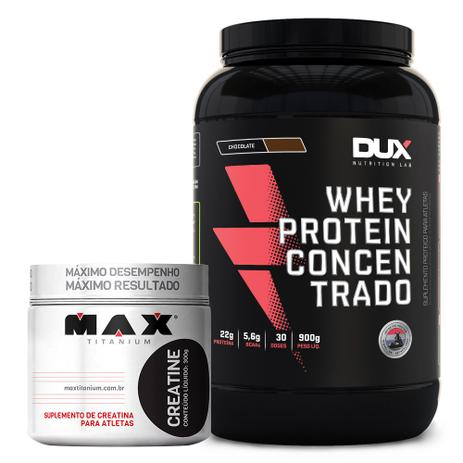 42f709497 Kit Whey Concentrado Dux + Creatina 300g Max Titanium - Dux nutrition